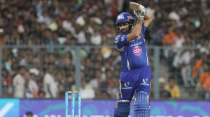 Mumbai Indians captain Rohit Sharma plays a shot during match 5 of the Vivo Indian Premier League ( IPL ) 2016 between the Kolkata Knight Riders and the Mumbai Indians held at the Eden Gardens Stadium in Kolkata on the 13th April 2016 Photo by Vipin Pawar/ IPL/ SPORTZPICS