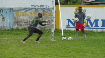 GOALKEEPERS TRAIN IN PREPARARTION FOR THE INTERNATIONAL FRIENDLY AGAINST MARTINIQUE ON TUESDAY